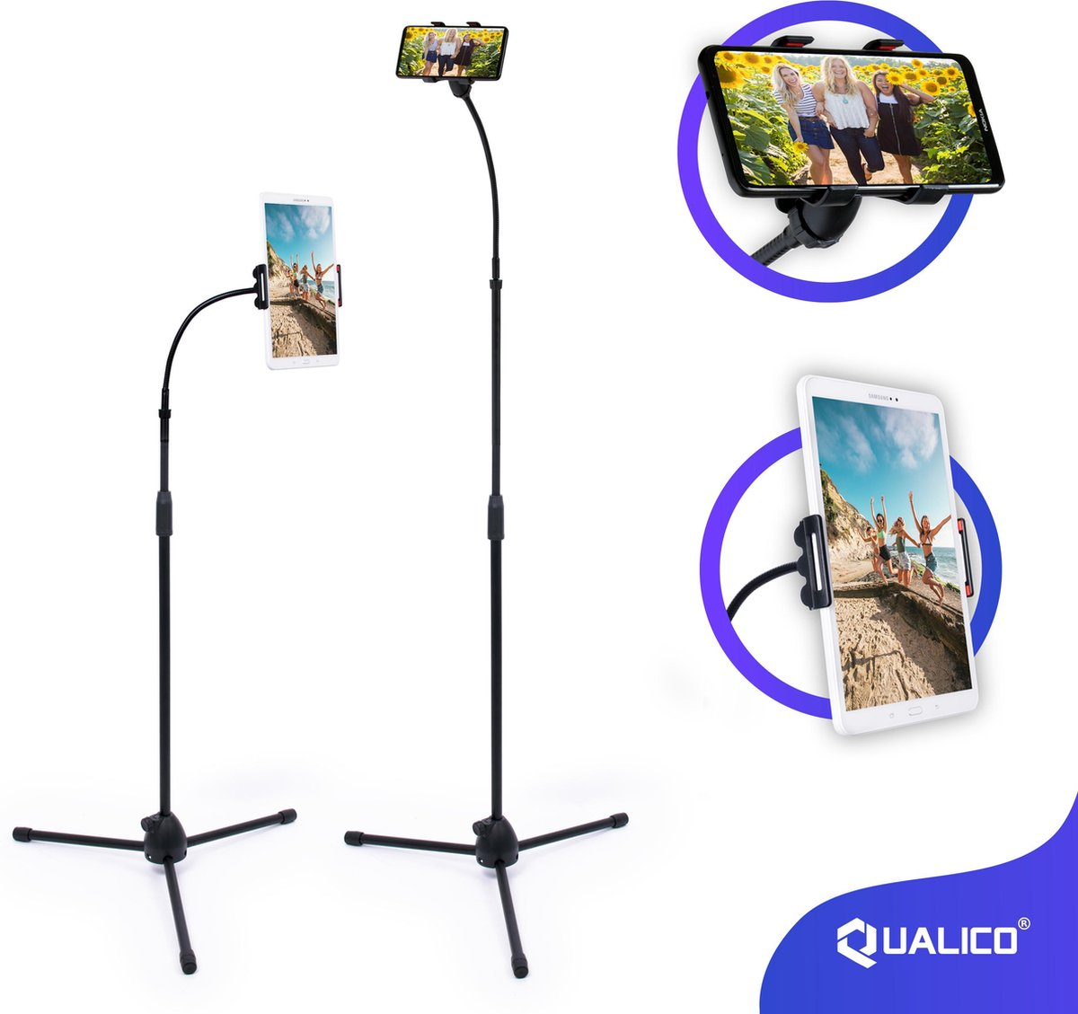 Universeel Tablet & Smartphone Statief Tot 175 cm Hoogte - Standaard Telefoon houder - Tripod & Staa