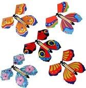 Vliegende Vlinder - 5 stuks - Popup - opwind vlinder - pop-up kaart - verrassing - vaderdag - beterschap - wenskaarten - felicitatiekaart - verjaardagskaart - 5 stuks