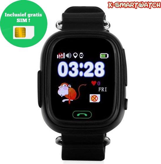 X-Watch - Kinder Smartwatch Horloge GPS - Zwart - GPS & WIFI met Belfunctie - GPS Horloge Kind - Smartwatch Kids - Inclusief Gratis Simkaart t.w.v. €10