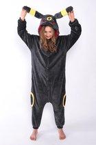 KIMU Onesie Umbreon Pokemon pak kostuum vos antraciet - maat S-M - Umbreonpak jumpsuit huispak