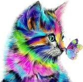 Happy Painter® XL 40x40cm Diamond Painting volwassenen dieren - Kleurige Kat met Vlinder - KLEURENEXPLOSIE! 57 KLEUREN!  - volledig pakket