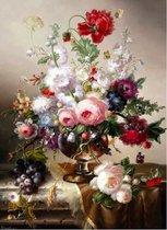 """Diamond Painting - Prachtig Stilleven Schilderij """"Bloemen in glazen vaas"""" - 40x50 cm - Vierkante steentjes - Volledige bedekking - Inclusief tools."""
