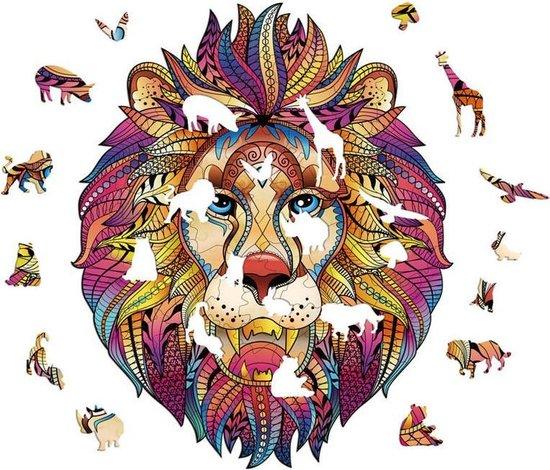 Houten jigsaw puzzel | Dierenfiguur puzzel | Houten dieren Puzzel | Educatieve puzzel | Decoratief | Houten Legpuzzel |  Wooden Animal Jigsaw Puzzle | Breinbreker | A3 | Leeuw