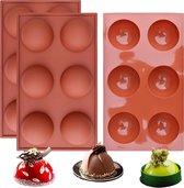 FLOOQ - Siliconen Bakvorm - Halve Bollen - Chocolade - Muffins - Taartjes - Fondant - Marsepein - BPA vrij - 6 stuks
