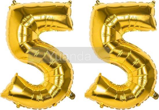 55 Jaar Folie Ballonnen Goud - Happy Birthday - Foil Balloon - Versiering - Verjaardag - Man / Vrouw - Feest - Inclusief Opblaas Stokje & Clip - XXL - 115 cm