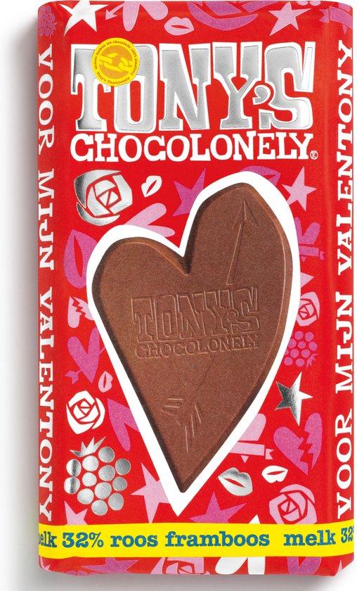 Tony's Chocolonely ValenTony's Melk Roos Framboos - 1 x 180 gram