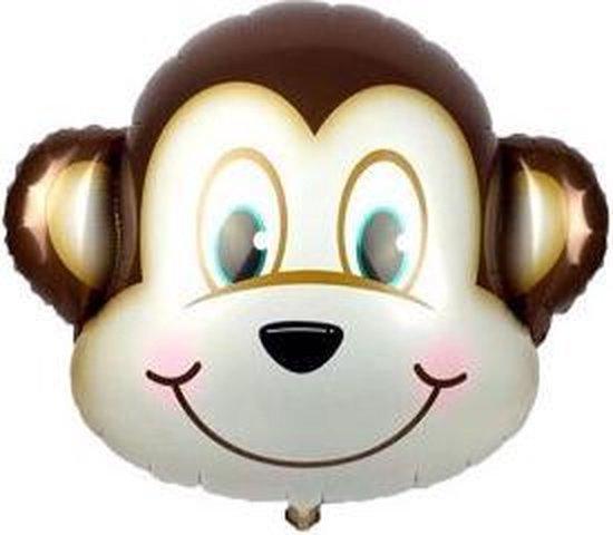 Aap Ballon - 70x81cm - XL - Versiering - Thema feest - Verjaardag - jungle - Dieren - Jungle versiering - Folie Ballon - Ballonnen - Helium ballon