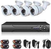 Teceye - Camera beveiliging systeem - Met Opslag - Bekabeld - Voor Buiten - 4 Camera's - Compleet Systeem - Met 500GB