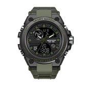 Horloge - Stoer - Mannen - Waterdicht - Groen - Mat Zwart - Rubberen band - Trendy - Military watch - Cadeau Tip