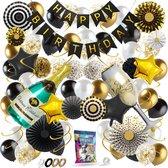 Fissaly® 76 Stuks Goud, Zwart & Wit Decoratie Feestpakket met Papieren Confetti Ballonnen – Champagne - Happy Birthday - Helium – Latex - 16, 18, 21, 30, 40, 50, 60, 70 Jaar - Geslaagd