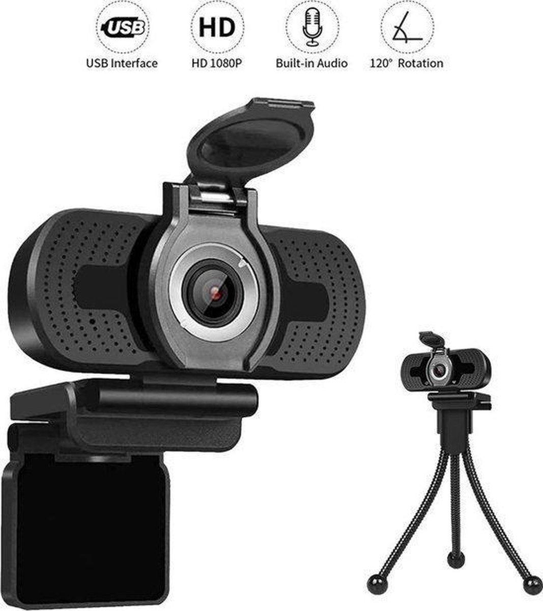Professionele Webcam HD 1080P Inclusief cover en Statief -verstelbare lensring -voor PC met Ingebouwde Microfoon - werk- vergadering- lees geven -YouTube- gamen