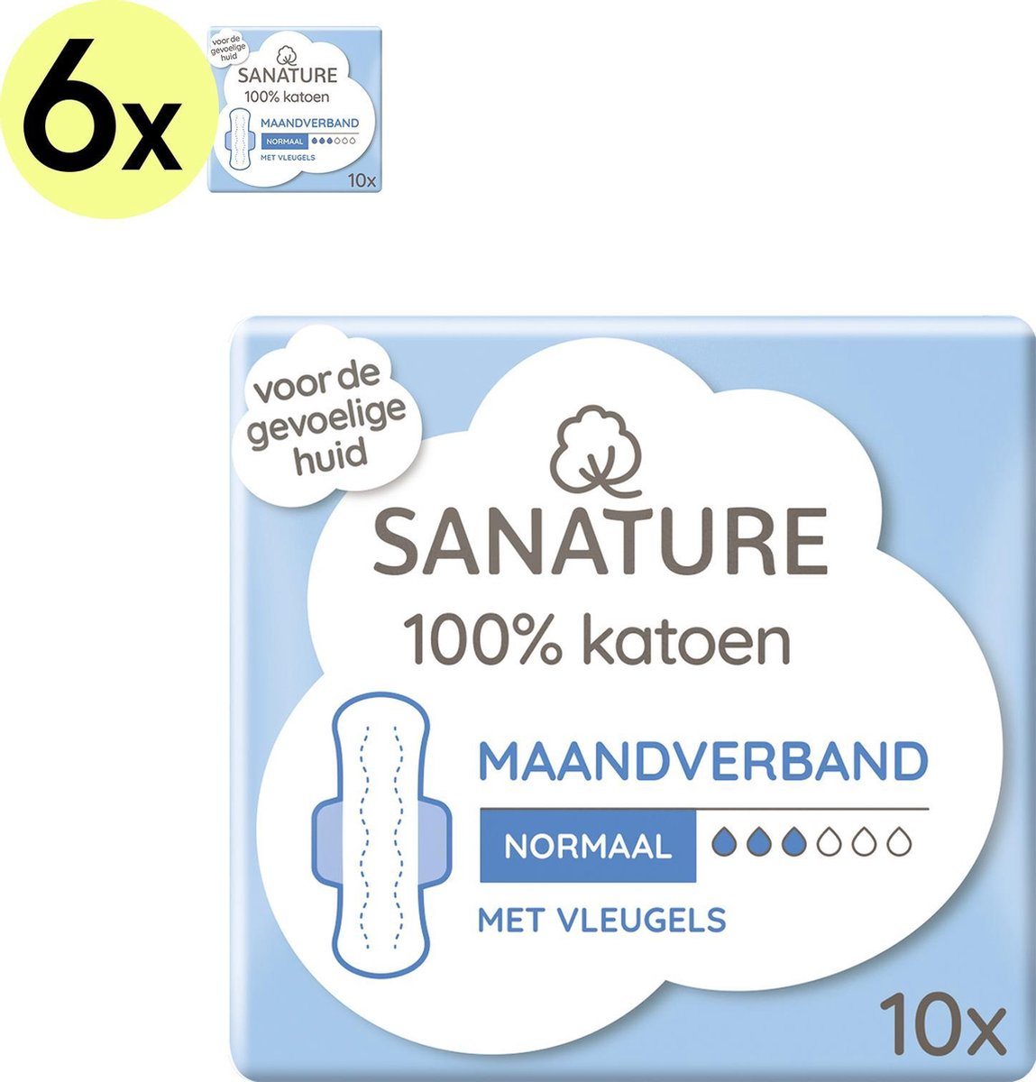 Sanature 100% Katoenen Maandverband Normaal met vleugels 6 x 10 stuks