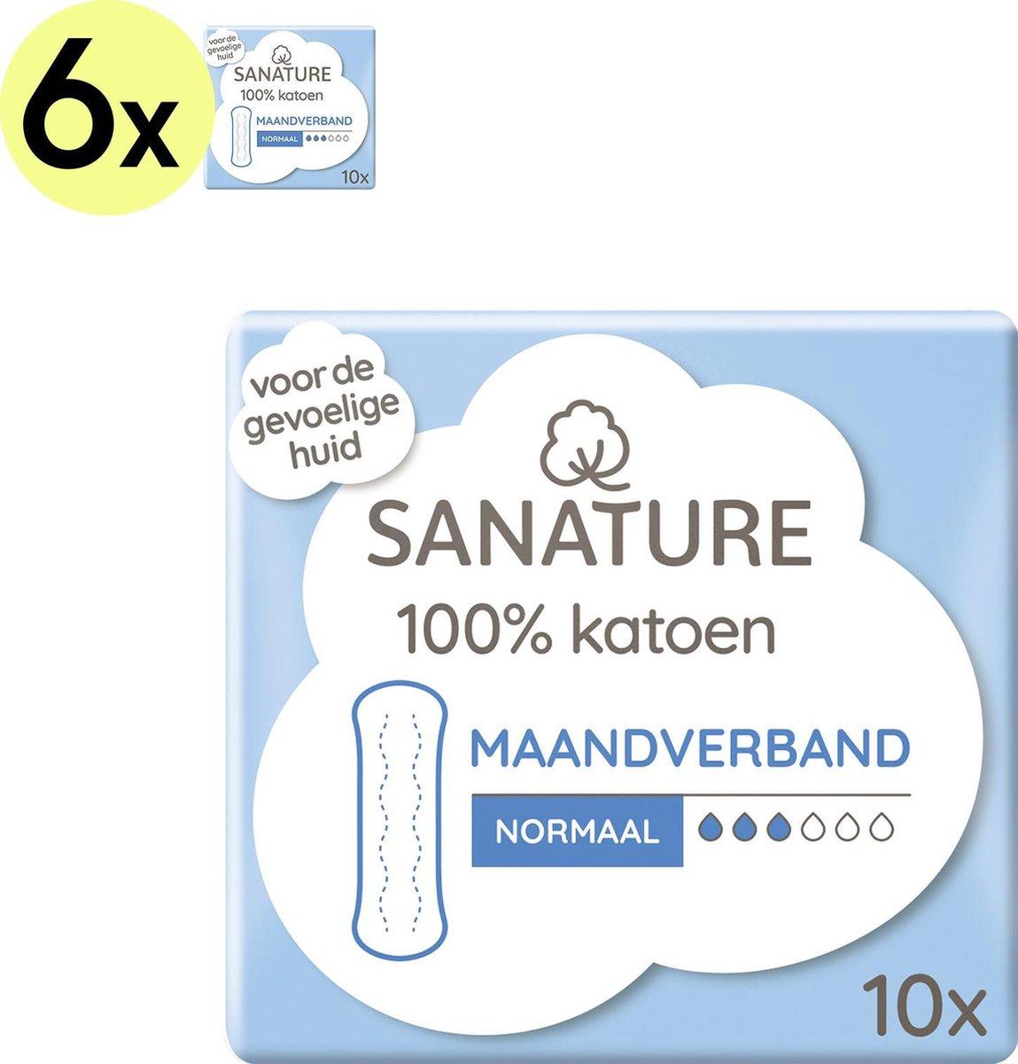 Sanature 100% Katoenen Maandverband Normaal zonder vleugels 6 x 10 stuks