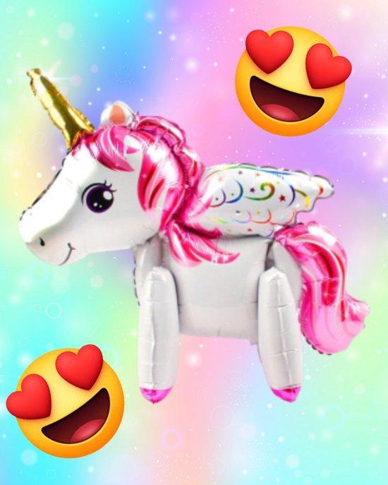 Unicorn Ballon - 3D Ballon - 60 x 68 cm - Inclusief Opblaasrietje - Ballonnen - Ballonnen Verjaardag - Helium Ballonnen - Folieballon - Paarden - Pony - Eenhoorn - Unicorn Versiering - Unicorn - Wit & Roze
