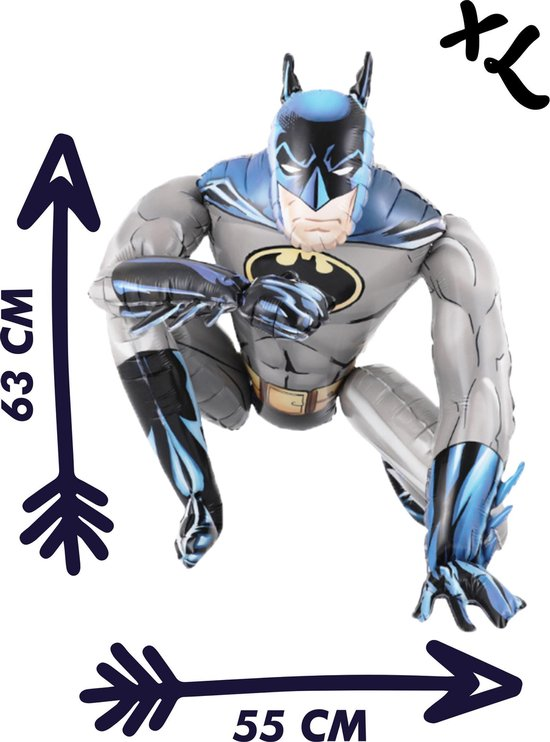 Blije Ballon® - Batman Ballon - 63 x 55 cm - 3D Ballon - Inclusief Opblaasrietje - Ballonnen - Ballonnen Verjaardag - Helium Ballonnen - Folieballon - DC Comics - Batman Speelgoed