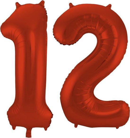 Cijfer 12 Rood Helium 86 cm