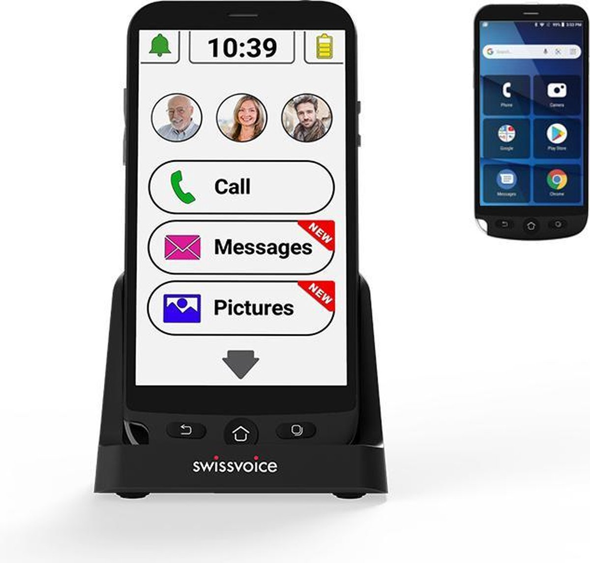 Swissvoice G50 Plus Senioren Smartphone – Met Extra oplaadstation