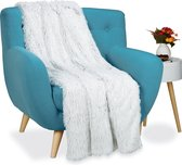 relaxdays plaid imitatiebont - wit grijs - woondeken - woonplaid - bankdeken - woonkleed
