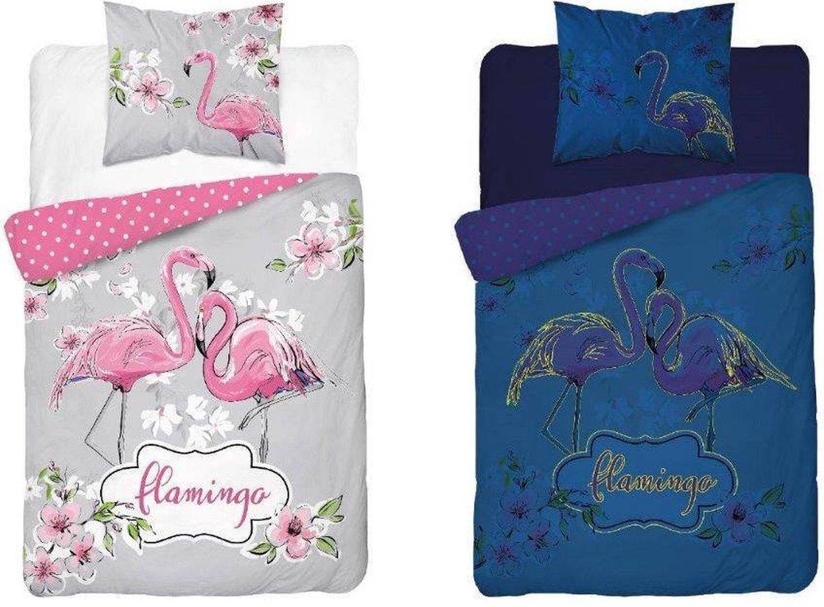Flamingo Dekbedovertrek-1persoons-140x200-Katoen -Glow in the Dark - dekbed jongens meisjes