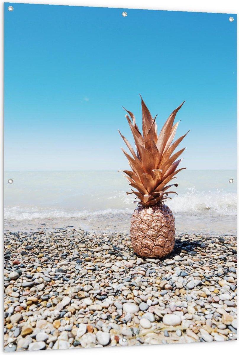 Tuinposter   Gouden Ananas bij Zee - 100x150cm Foto op Tuinposter  (wanddecoratie voor buiten en binnen)