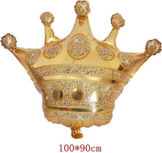 Folieballon groot in vorm van Gouden Kroon 100 x 90 cm