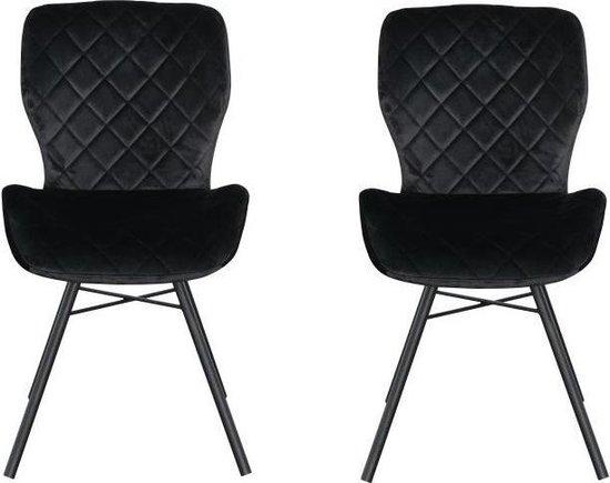 Marieke velvet stoel - Velvet - Zwart - Set van 2