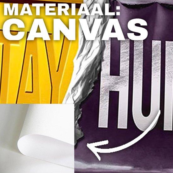Stay hungry - Blijf hongerig / Business / Geld / Money / Goud canvas poster 100x50 (Excl rand gemeten) ''Mirror-Edge'' rand voor gekleurde zijkant