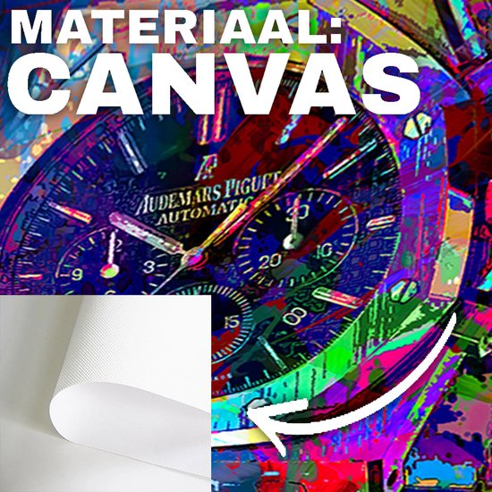 Audemars Piguet horloge graffiti kleuren canvas poster 70x70 (Excl rand gemeten) ''Mirror-Edge'' rand voor gekleurde zijkant