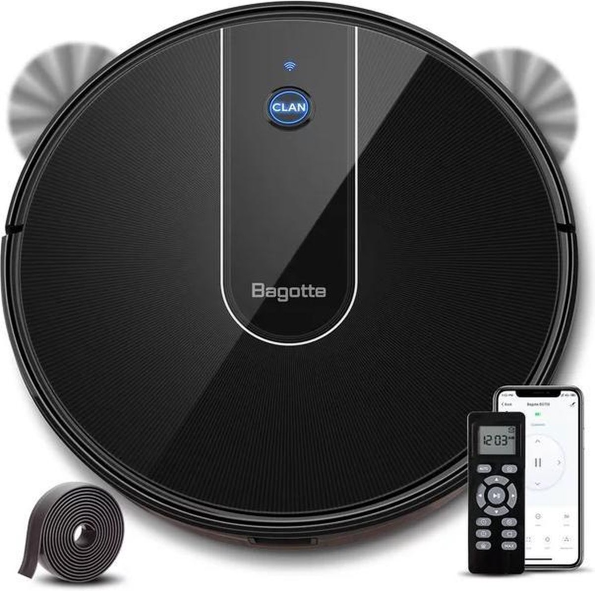 Bagotte BG700 Serie - Robotstofzuiger - Stofzuigrobot - WIFI bestuurbaar - Met afstandsbediening en mobiele App - Zwart