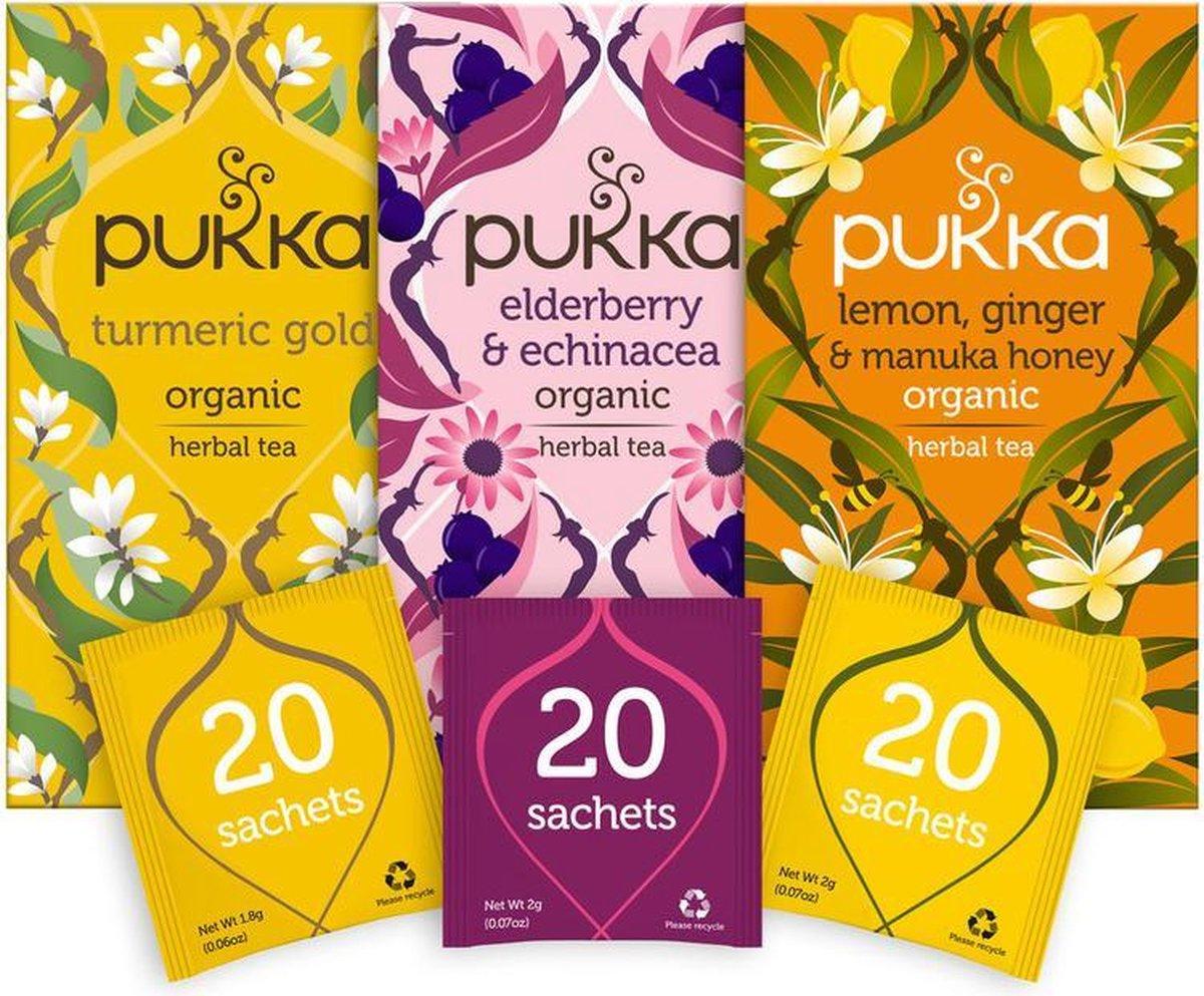 Pukka Support Thee Bundel, 3 blends biologische kruiden thee voor ondersteuning (3 x 20 zakjes)