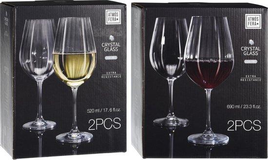 4x Witte en 4x rode wijnglazen set 520 ml/690 ml van kristalglas - Kristalglazen - Wijnglas - Wijnen - Wijnliefhebber cadeau