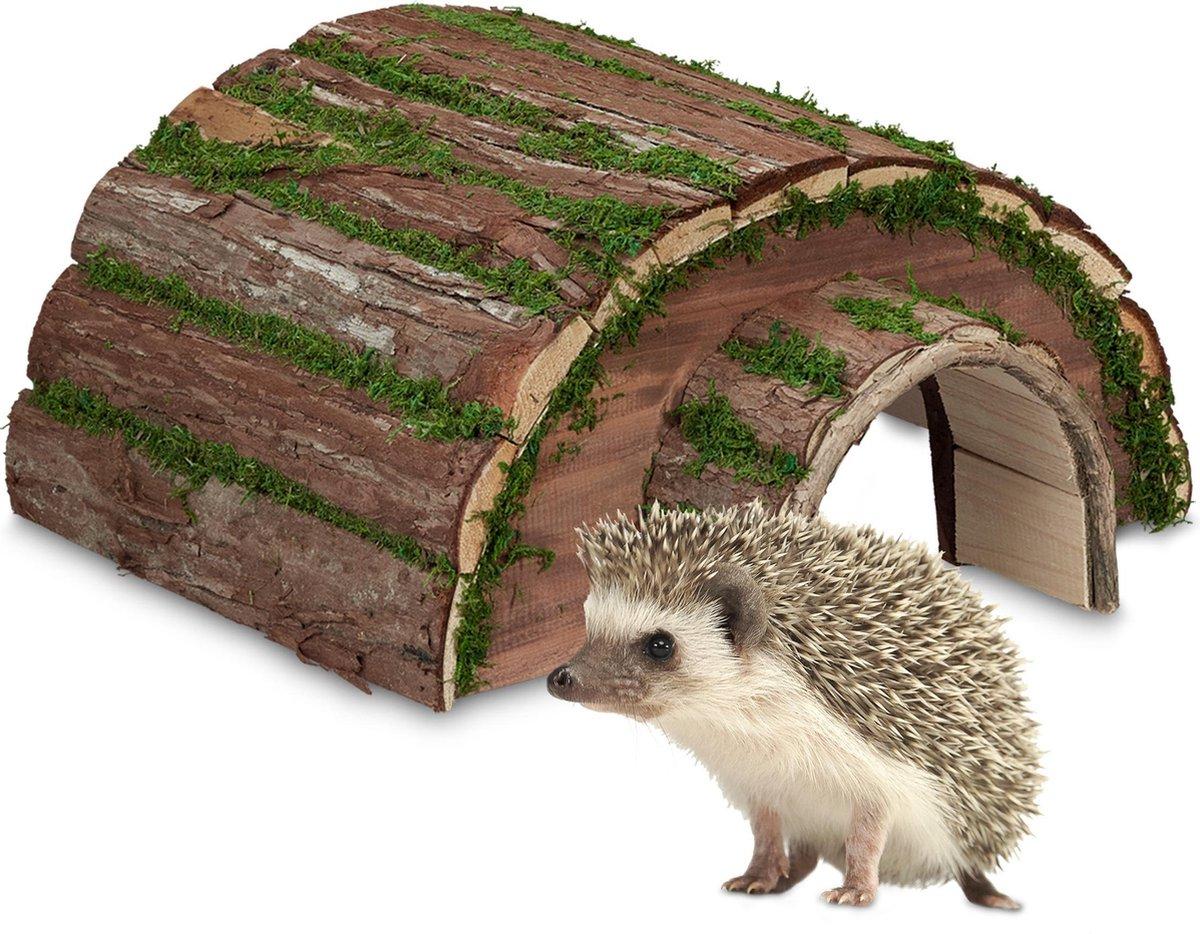 relaxdays egelhuis hout - egelmand - huisje voor egels - egelhotel - schuilplaats winter