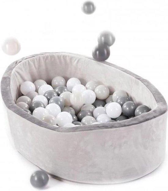 Afbeelding van het spel (baby) ballenbad velvet grijs met 120 ballen Wit met zwart