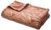 Plaid Roze met Gouden Bladeren 125x150
