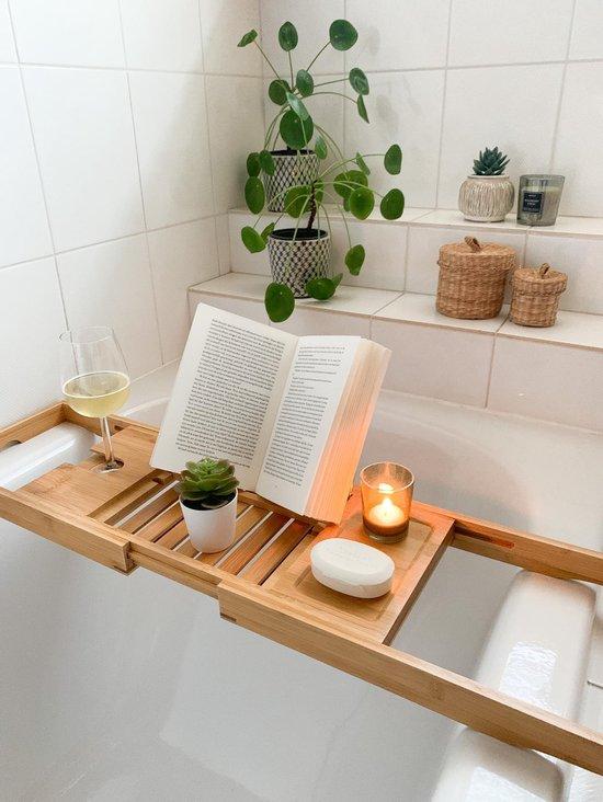 Made4Home® - Bamboe badplank | Badrek | uitschuifbaar | Incl. boekhouder/tablethouder | Glashouder | maat 70 tot 105 cm