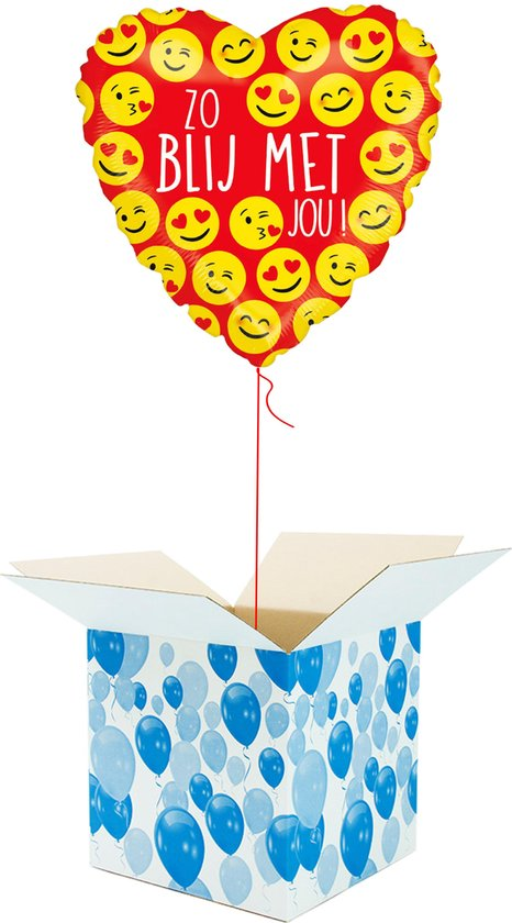 Helium Ballon Hart gevuld met helium - Zo Blij Met Jou! - Cadeauverpakking - Emoji - Hartjes Folieballon - Helium ballonnen gevuld Valentijnsdag