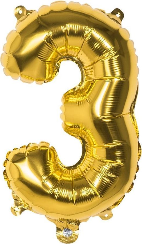 Boland Cijferballon 3 Folie 66 Cm Goud