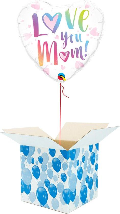 Helium Ballon Hart gevuld met helium - Moederdag - Cadeauverpakking - Love You Mom! - Hartjes Folieballon - Helium ballonnen Moederdag
