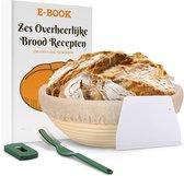 Holland Bakery Rijsmand Rond set met Deegkleed, Deegschraper, Deegmes en Recepten - Banneton - Zuurdesem Brood Bakken - Ø 25 cm