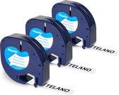 Afbeelding van 3x Telano Plastic Labels voor Dymo LetraTag 91201 en LT-100H - 12 mm x 4 m - Zwart op Wit