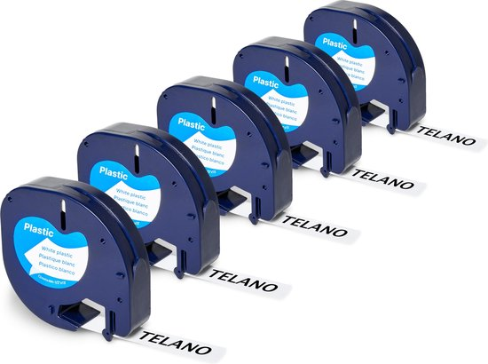 Afbeelding van 5x Telano Plastic Labels voor Dymo LetraTag 91201 en LT-100H - 12 mm x 4 m - Zwart op Wit