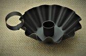 Kolony Kandelaar, Blaker, zwart metaal, groot formaat, afm. 7x13x12 cm,