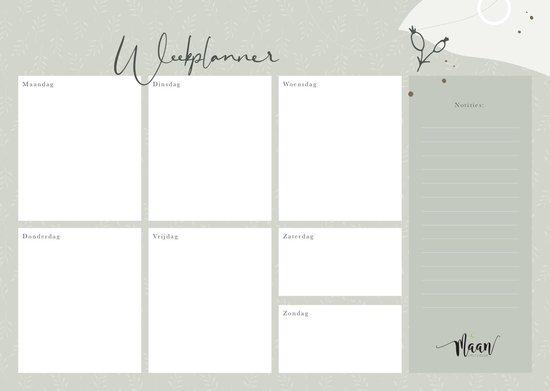 Weekplanner incl stickervel - to do planner - werkplanner - ongedateerd - A4