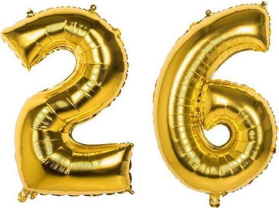 26 Jaar Folie Ballonnen Goud - Happy Birthday - Foil Balloon - Versiering - Verjaardag - Man / Vrouw - Feest - Inclusief Opblaas Stokje & Clip - XXL - 115 cm