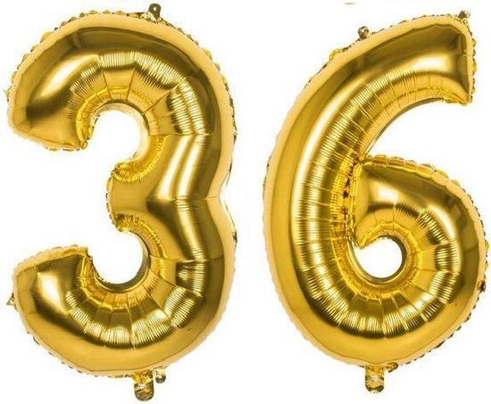 36 Jaar Folie Ballonnen Goud - Happy Birthday - Foil Balloon - Versiering - Verjaardag - Man / Vrouw - Feest - Inclusief Opblaas Stokje & Clip - XXL - 115 cm