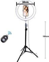 LumyLED ringlamp - selfie ringlight voor perfecte foto's en video's - 12 inch ringlamp met statief en afstandsbediening - verstelbaar tot 165 cm hoog - 3 kleur tinten 10 helderheid niveaus