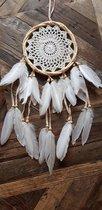 Dromenvanger Essence 17cm - Handgemaakt op Bali - Boho - Ibiza - Dreamcatcher - Witte Veren - Deco - Wanddecoratie - Smith Premium®