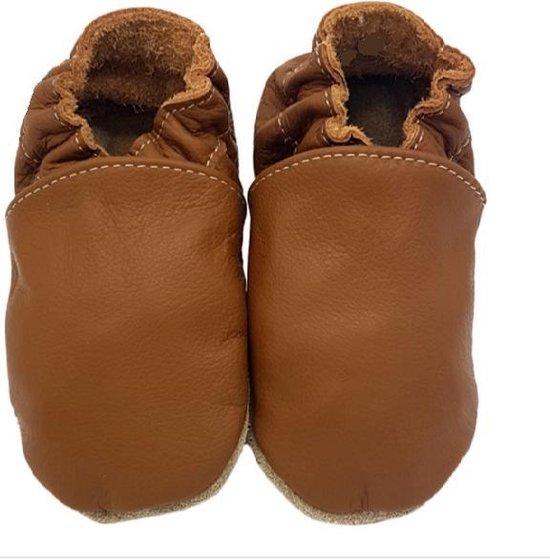 Product: Leren baby slofjes – bruin maat m, van het merk drukkies