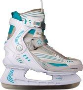 Nijdam 3353 Ijshockeyschaats - Semi-Softboot - Wit/Turquoise - Maat 39