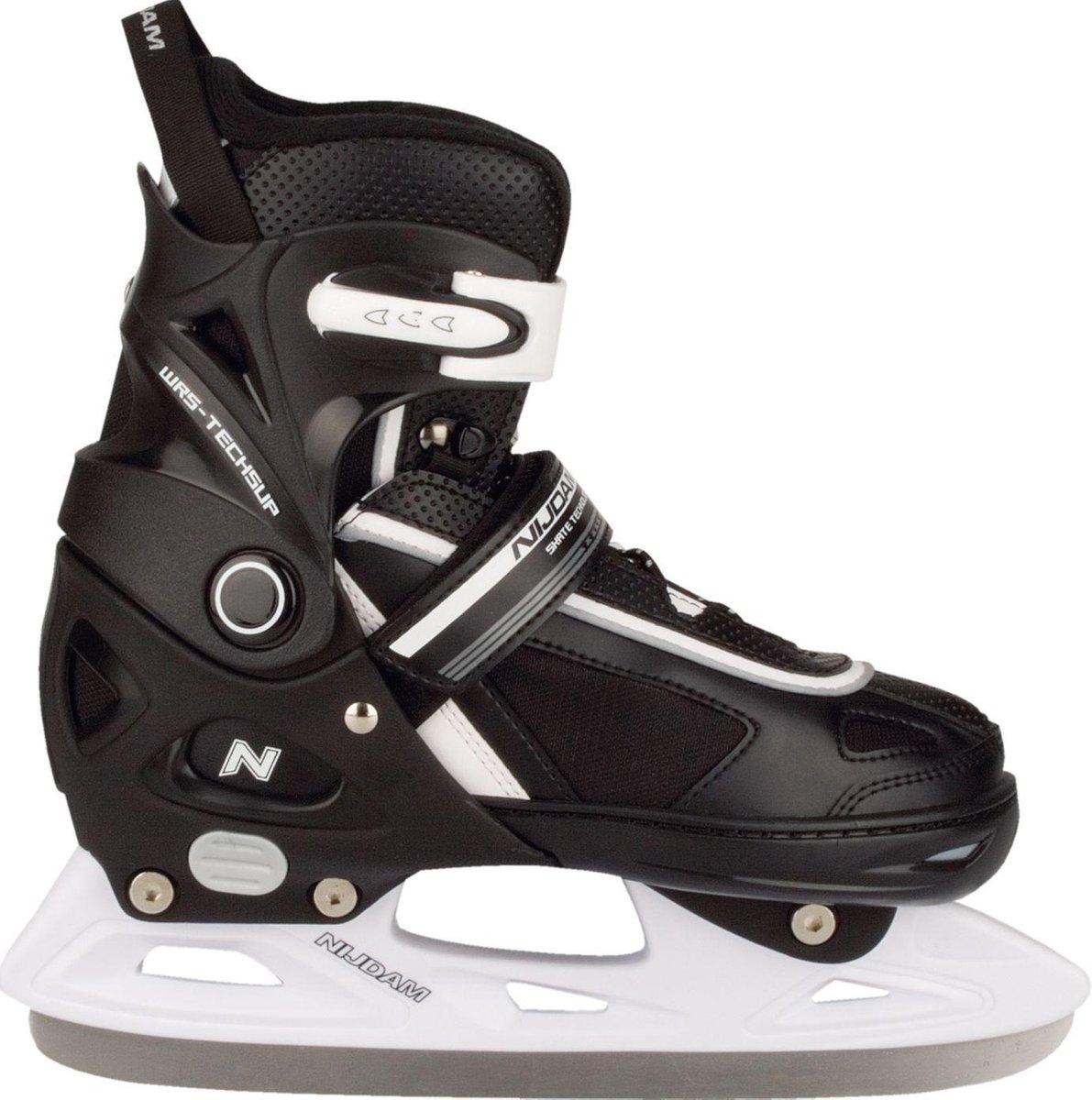 Nijdam Junior IJshockeyschaats - Verstelbaar - Semi-Softboot - Zwart/Wit - Maat 33-36
